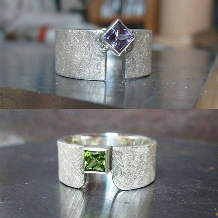 Zilveren ringen met amethist en peridoot / Karen Klein edelsmid