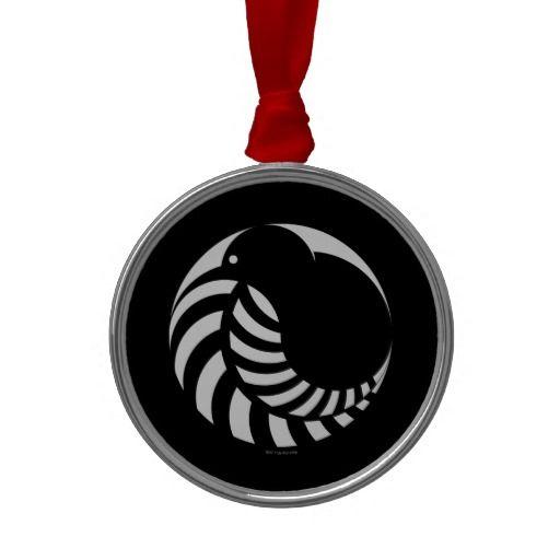 NZ Kiwi / Silver Fern Emblem Christmas Ornaments