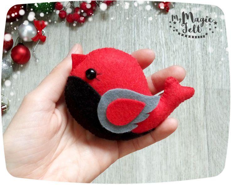 Christmas ornaments Bird felt ornaments for Christmas red Bullfinch ornament for…