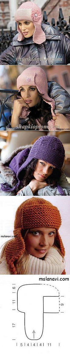 Модные шапки-ушанки спицами | Вяжем с Ланой