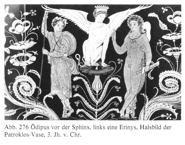 Oedipus solving the riddle of the Theban Sphinx Les