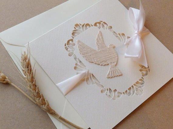 Christening dove wood invitation/Baptism invitation/Holly