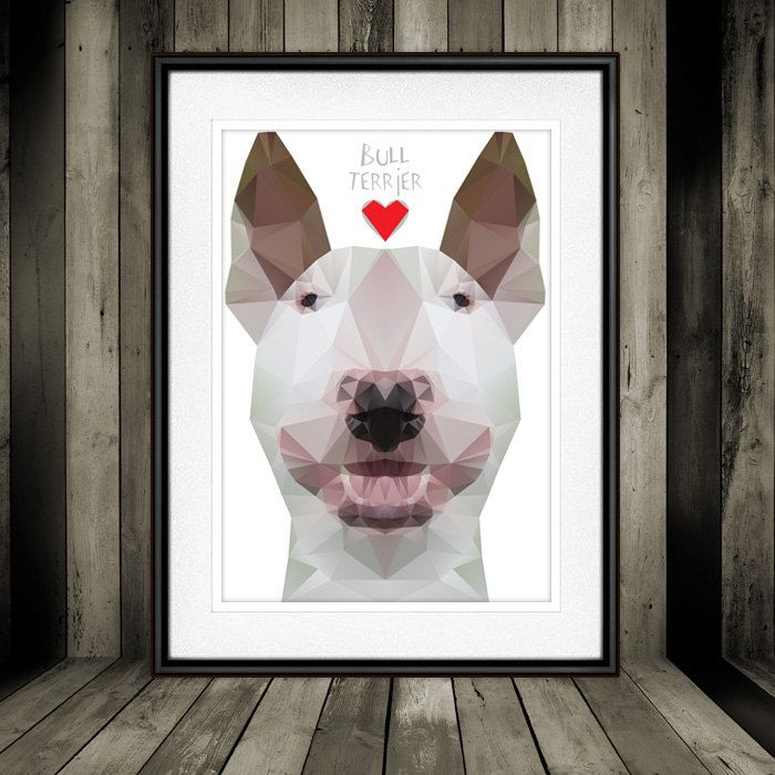 Geo Cubistic White Bull Terrier Digital Poster Print, Wall Decor by PSIAKREW on Etsy