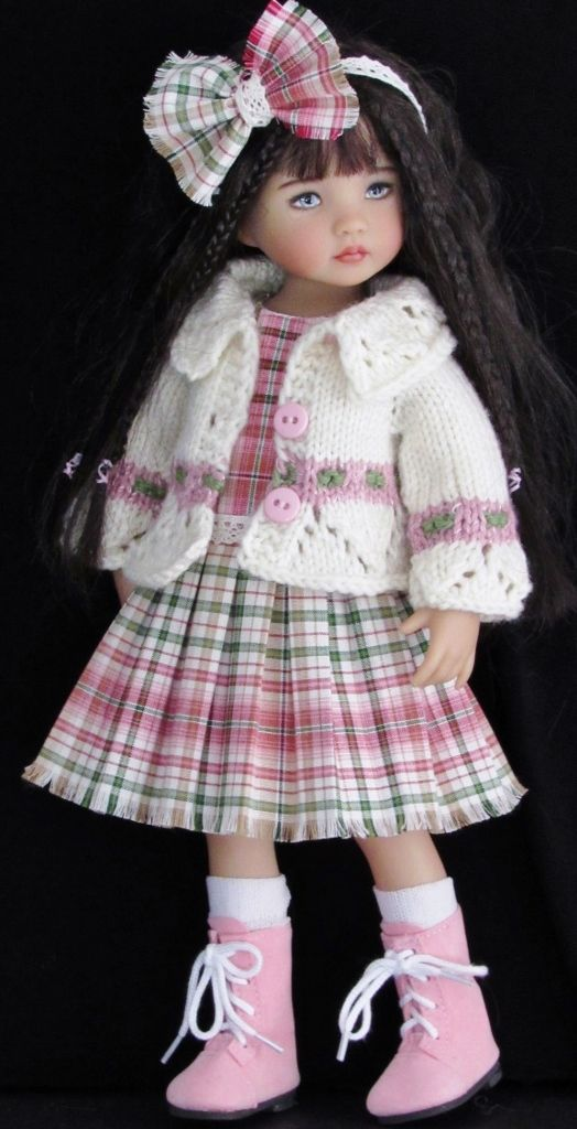 "SWEATER,JUMPER DRESS&MONIQUE BOOTS SET MADE FOR EFFNER LITTLE DARLING 13"" DOLLS"