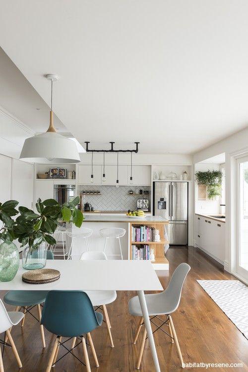 living area, dining room, open plan living, white …