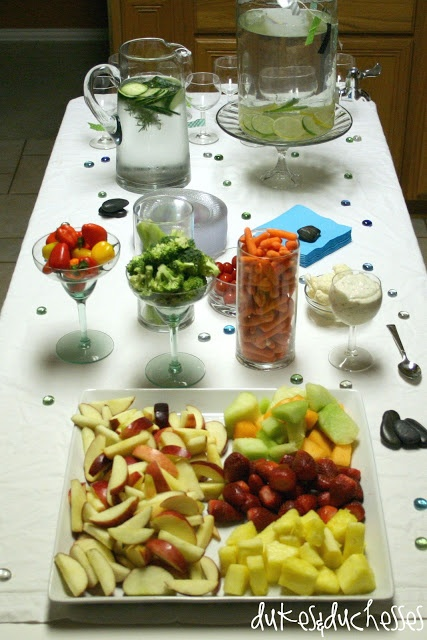 Spa Party Food Spread. I like how they used wine and margarita glasses for food and dip.