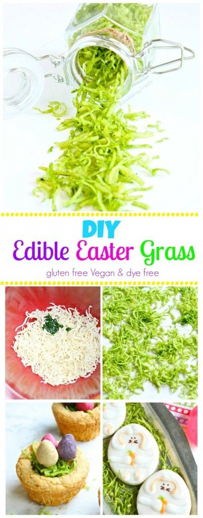Homemade Edible Easter Grass (gluten free Vegan dye free) DIY-Super easy grass using shredded coconut and spinach.