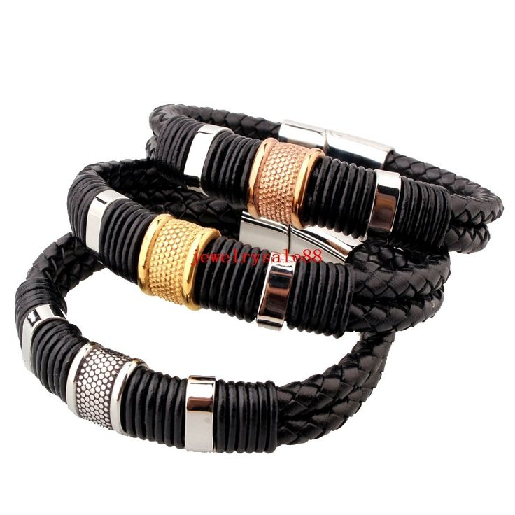 Black Genuine Leather 12Mm Silver/Gold Stainless Steel Fashion Mens Bracelet