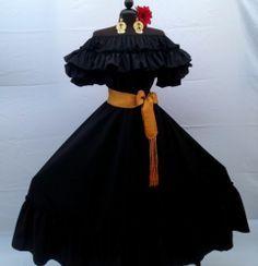 Mexican Fiesta 5 de Mayo Wedding Black Dress Off Shoulder 2 Piece w Medium Sash | eBay  (mxtraditions)