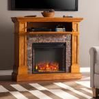 Bridgewater 45.5 in W Stone Look Convertible Electric Media Fireplace in Sienna