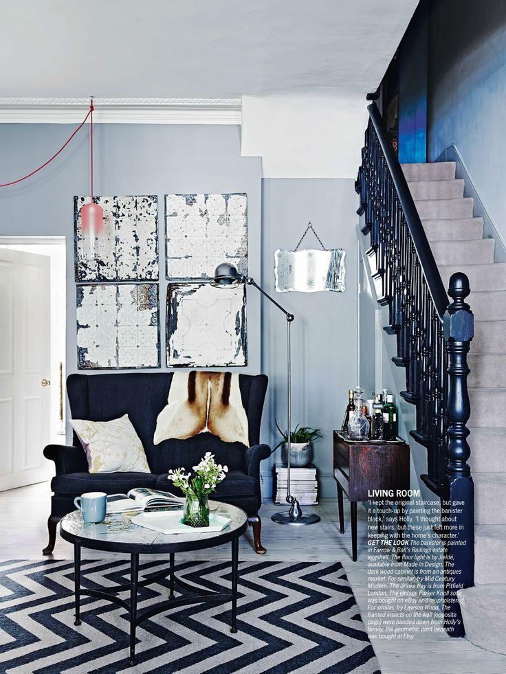 Walls: Farrow & Ball manor house grey Bannister: Farrow & ball railings Floors: white oiled larch, element 7 Living etc, November 2013