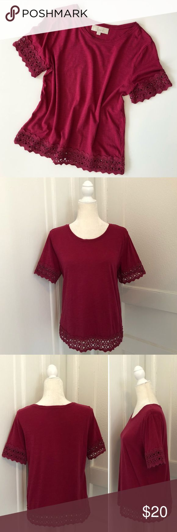 "LOFT Cranberry Crochet Lace Trim Tee Gently used condition. No stains/holes/signs of wear. Cranberry red color t-shirt with crochet details at sleeves and bottom hem.   Fit & Sizing -bust 18.75"" across -length 24""  Fabric & Care -100% cotton -machine wash LOFT Tops"