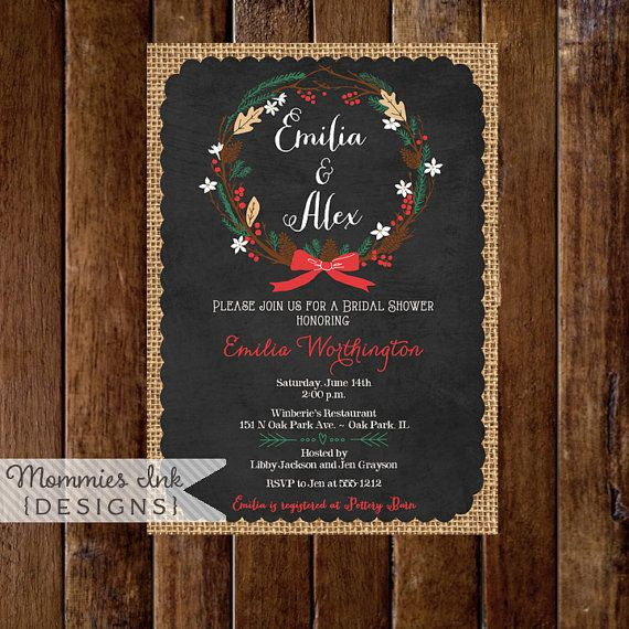 20 best winter holiday party invitations images on pinterest winter pinecone wreath chalkboard bridal shower invitation christmas theme shower winter theme bridal shower winter shower invite filmwisefo