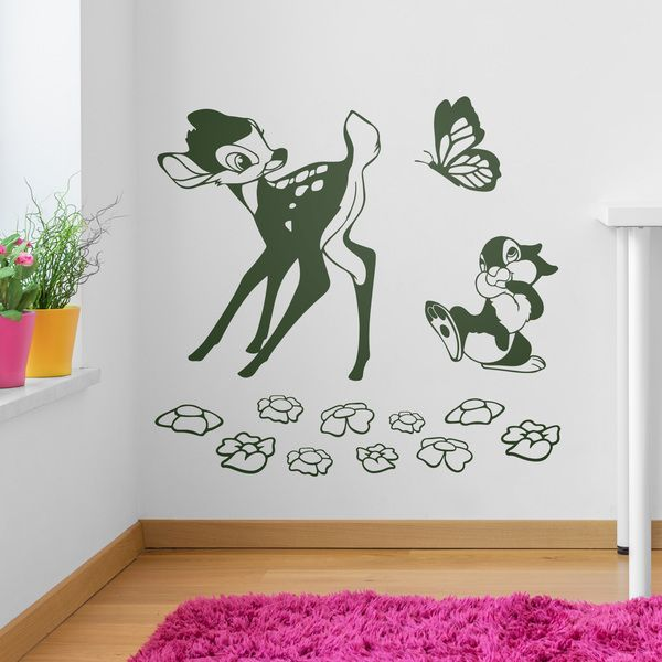 Nice Kinderzimmer Wandtattoo Bambi Schmetterling und Eichh rnchen