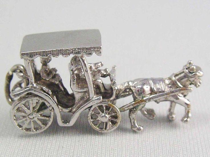 Vintage Sterling Silver 925 HORSE DRAWN CARRIAGE 3D Bracelet Charm 5.7 grams