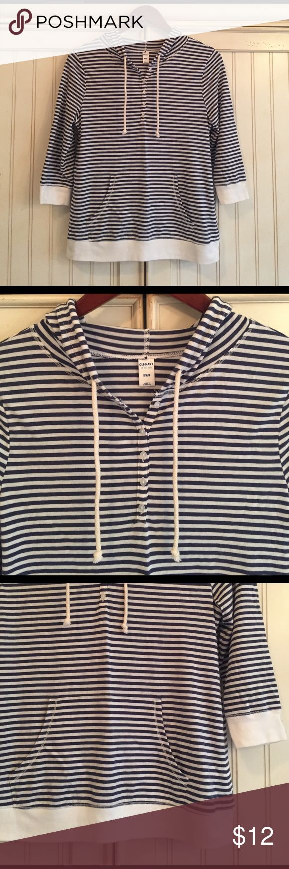 Old Navy Stripe Hoodie Old Navy nautical-style striped hoodie with blue and white. White band at bottom and at end of sleeves. Rope ties to tighten hoodie. 5 buttons down front. Only worn 1x and in great condition. Size: Medium. Old Navy Tops
