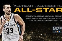 The NBA announced tonight that Memphis Grizzlies center Marc Gasol has been named as a reserve to the Western Conference team for the 2017 NBA All-Star Game. Gasol is the first player in franchise history to be selected to the All-Star Game three different times after representing the Grizzlies as a reserve in 2012 and as a starter in 2015.