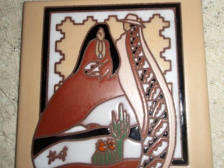 Designer Tile by Earthtones, Kachina Tile, trivet or wall hanging tile, ARTIST signed Tu-oti, Southwestern design tile by SocialmarysTreasures on Etsy