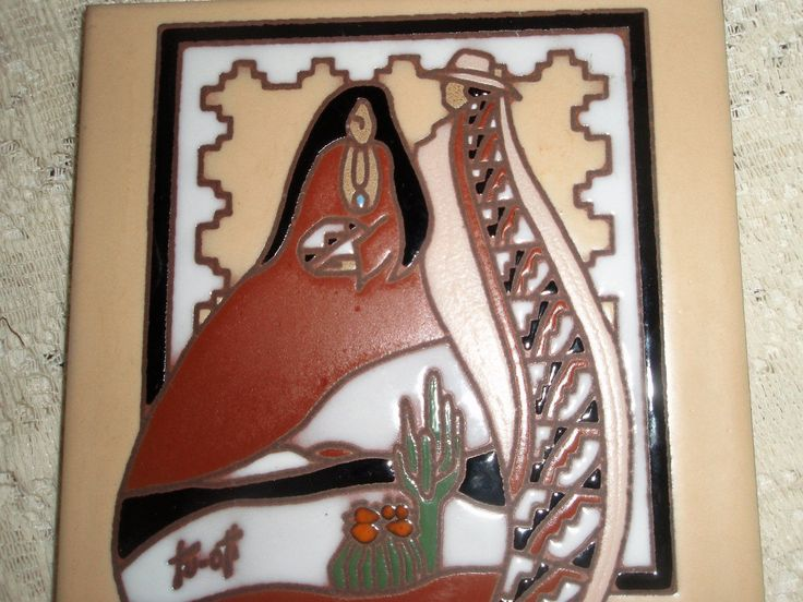 Designer Tile by Earthtones, Kachina Tile, trivet or wall hanging tile, ARTIST signed Tu-oti, Southwestern design tile by SocialmarysTreasures on Etsy