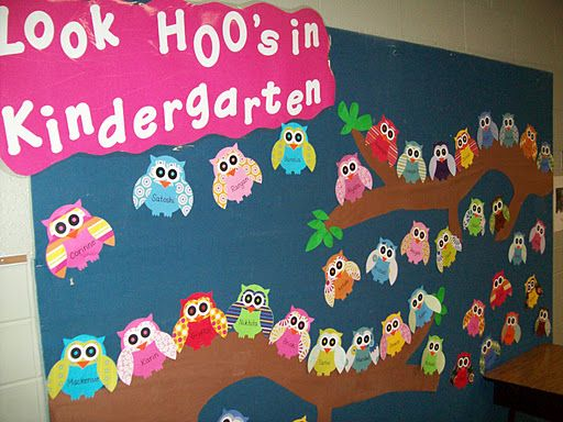 Owl themed kindergarten classroom bulletin board for Back to school board decoration