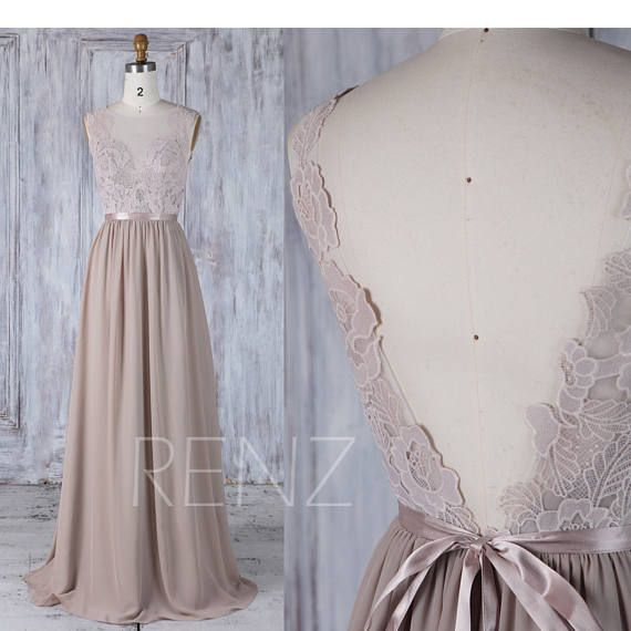 Bridesmaid Dress Taupe Long Lace Boho Wedding Dress V Back Scoop Neck A-line Wedding Gown mit Sash (L291)