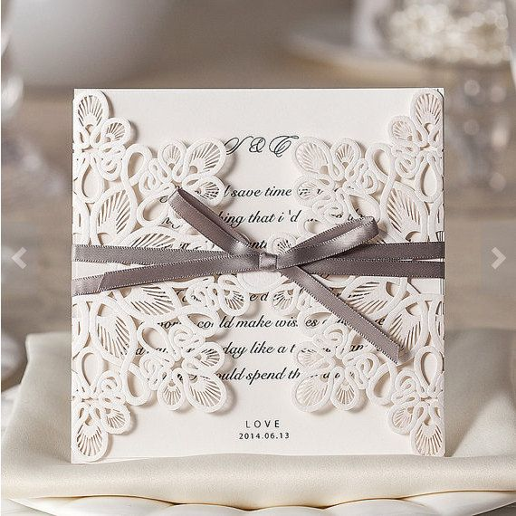 Lace Laser Cut Wedding Invitations Fl Customized Printable Design With Grey Ribbon Pack Of 50