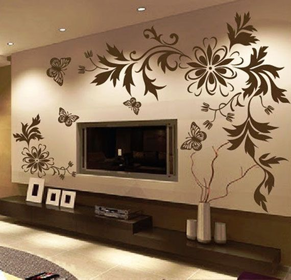 Flower & Butterfly Art- Wall Decal Stickers (Home Wall Decor: Living-room)  ►Includes: 4-Butterflies  2-Flowers  5-Branches  ►Specifications: