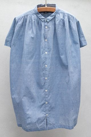 Blue Short Sleeve Shirred Blouse by Pas De Calais $360 | shopheist.com