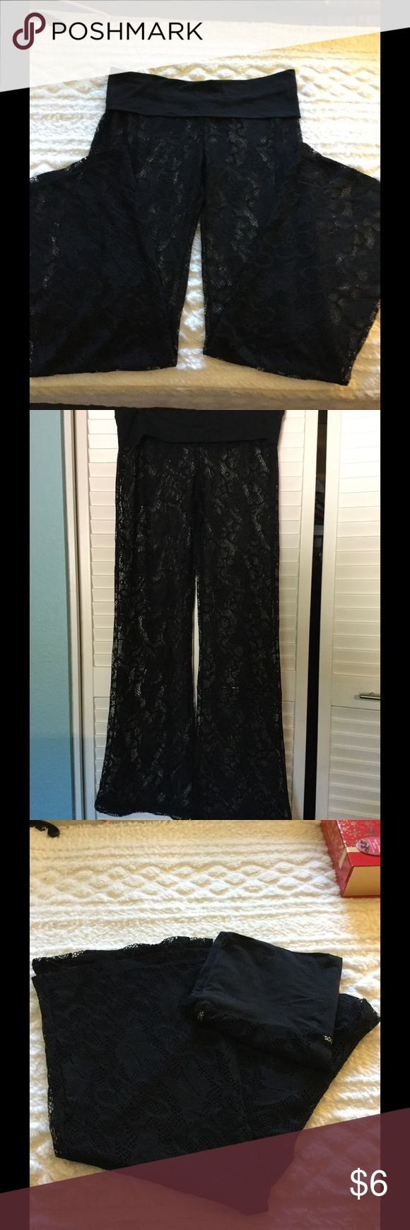 Bathing Suit Cover Up Pants Cute for covering bikini bottoms. See through lacy with wide stretch cotton waist band. Fold over to hips. They are a large but I forget the brand. Purchased at Nordstroms. Nordstroms Swim Coverups