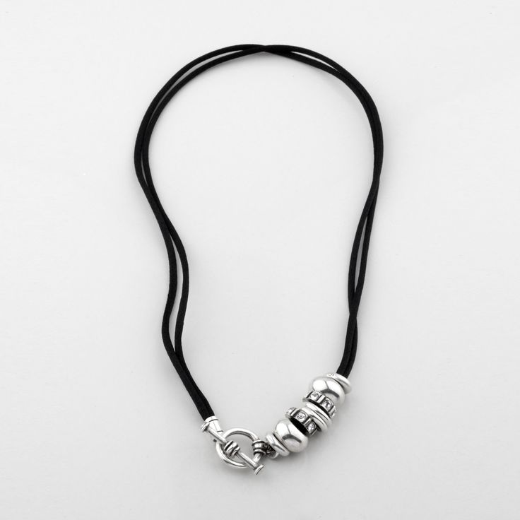 N1100 Petite #versatile #black #silk cord #necklace with burnished #silver #rings and #classic #Swarovski #crystals - www.miglio.com