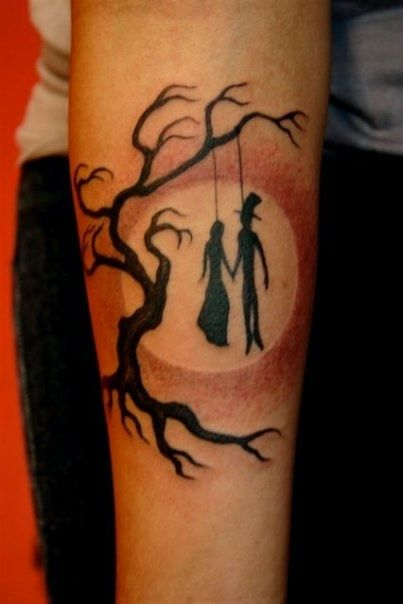 """Till death do us part"" By Corey Miller :) What I think: ""Are you / Are you /   Coming to the tree / Where they strung up a man they say murdered three / Strange things did happen here / No stranger would it be / If we met up at midnight in the hanging tree."""