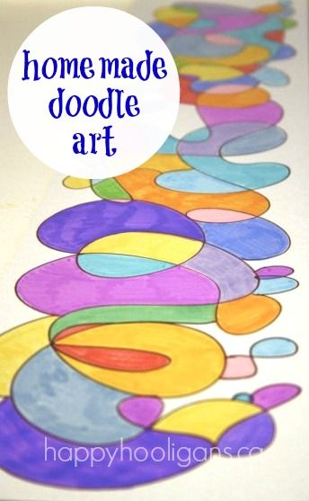 homemade doodle art  - great with for using with paints or markers (link to homemade watercolours in this post)
