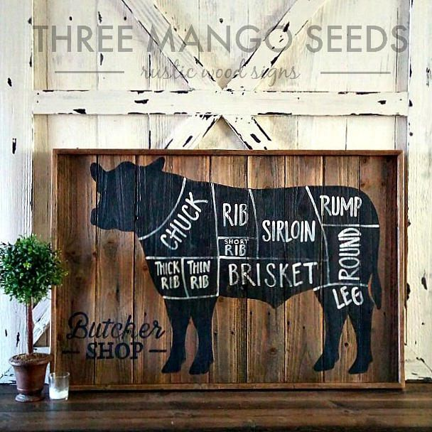 BUTCHER Shop Cuts Rustic Wood Sign / COW / 24 x 36 /Meat Cuts / Butcher Cuts / Butcher Diagram / Sign / Farm / Butcher / Reclaimed Wood Sign by mangoseedmarketplace on Etsy