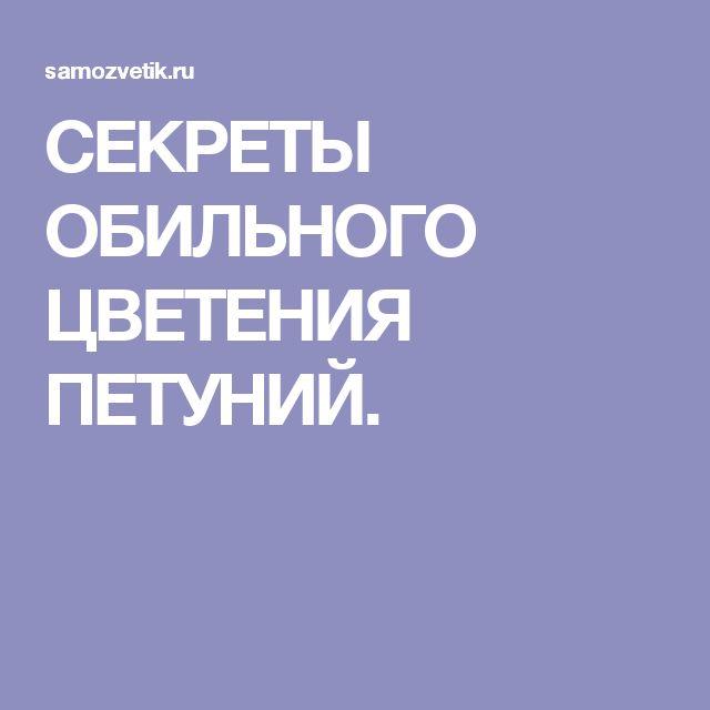 СЕКРЕТЫ ОБИЛЬНОГО ЦВЕТЕНИЯ ПЕТУНИЙ.