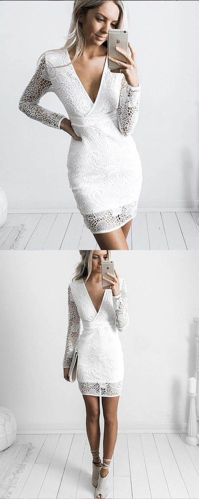 White V Neck Lace Tight Graduation Dress With Long Sleeves Hd3224 Tight Party Dresses Dresses Homecoming Dresses [ 1750 x 700 Pixel ]
