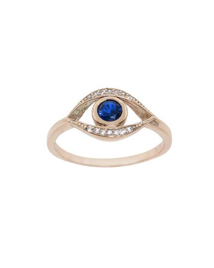 Rose Gold Pave Evil Eye Ring