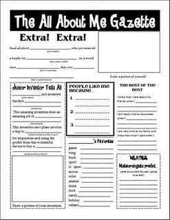 """""""The All About Me Gazette"""" I like the idea of having the kids fill this out on Meet the Teacher night. That will give them something to do while their parents fill out stuff for me."""