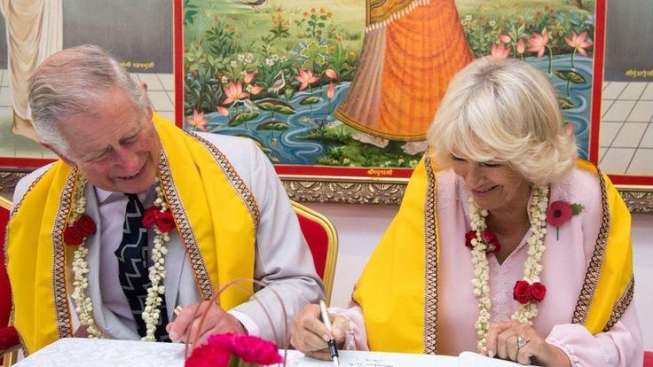 Charles and Camilla visit Bahrain's oldest Hindu temple - BBC News