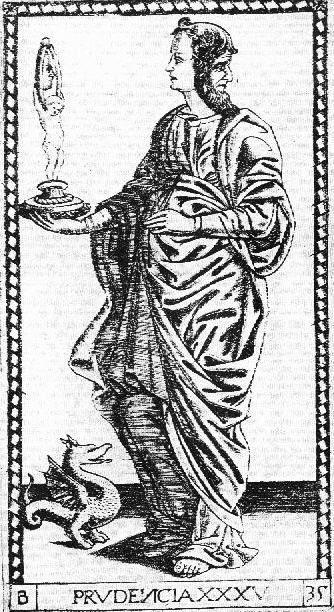 35/50 Prudence, Wisdom (Prudencia) - The Mantegna Tarocchi ( S-series) by unknown artist