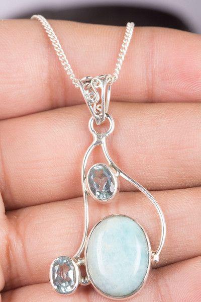 Zilveren ketting - Larimar Edelsteen ketting met Blue Topaz Gemstone - Een uniek product van ArtisanJewellery op DaWanda