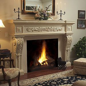Parisian Majestic Stone Fireplace Mantel - MantelsDirect.com