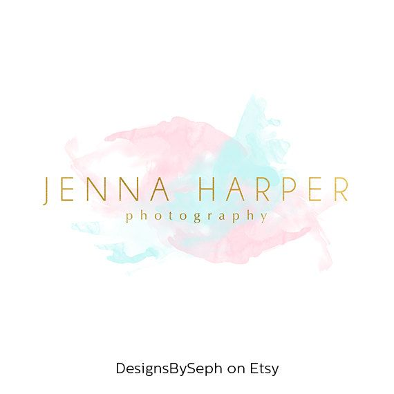 Pre-made Logo Design & Photography Watermark Watercolor logo
