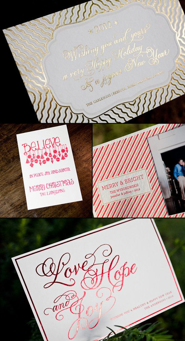 letterpressed holiday cards with designs and photo