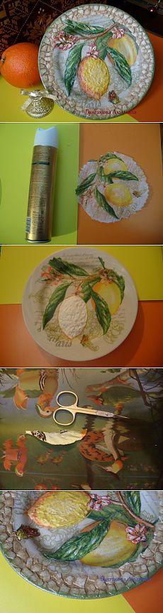 Декоративная тарелка с объёмным декупажем и яичным кракле. МК / Декупаж / Декупаж. Мастер-классы