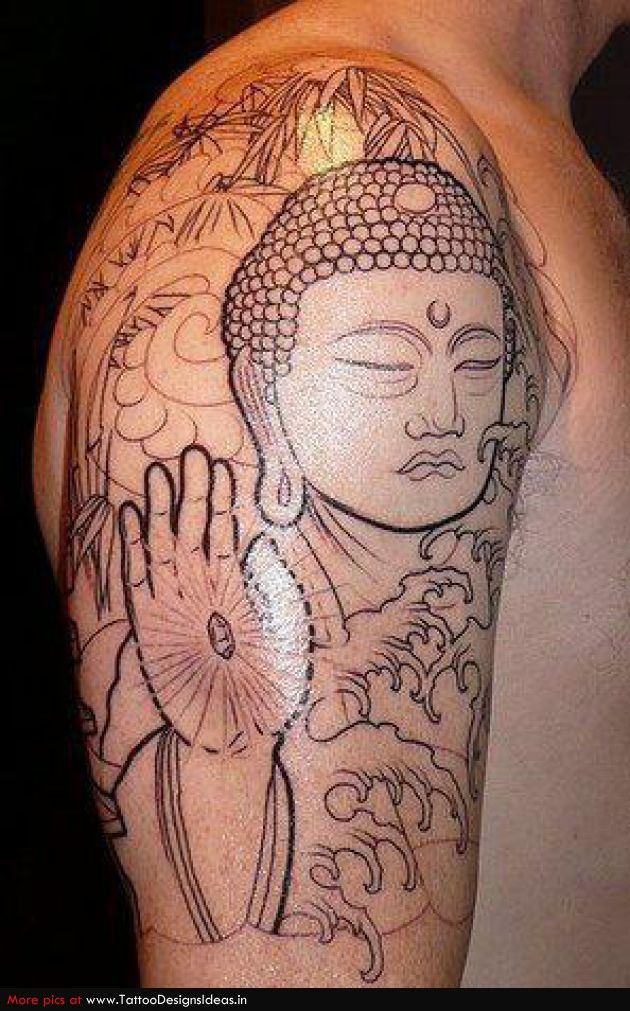 Spiritual tattoo of Buddha with Hamsa hand. Like this but not yhe face and not black. But love Hamsa, crystals, OM, sanskrit. YinYang.