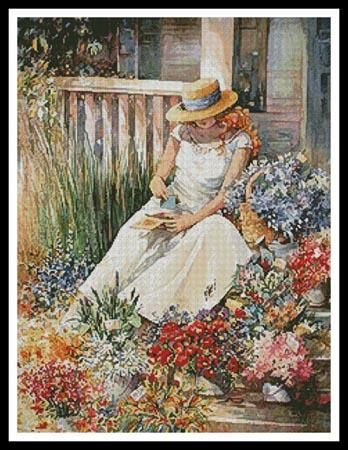 Girl with Flowers Cross Stitch Pattern
