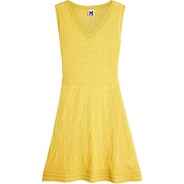 M Missoni Knit Dress featuring polyvore, women's fashion, clothing, dresses, yellow, yellow dress, m missoni, m missoni dress, knit dress and no sleeve dress