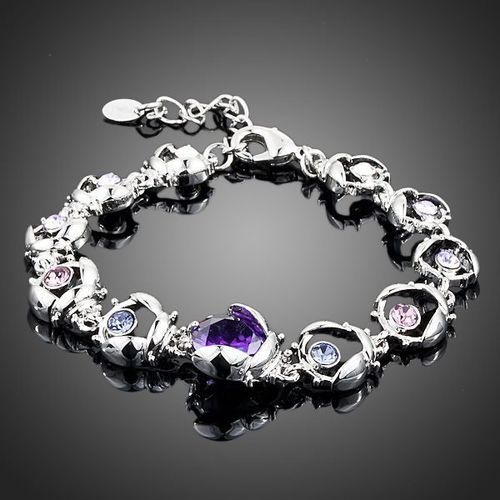 Platinum Plated Stellux Austrian Crystal 11pcs  Bracelet