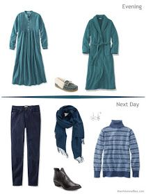 2 outfits from an Tote Bag Travel plan in jade and teal in a travel capsule wardrobe