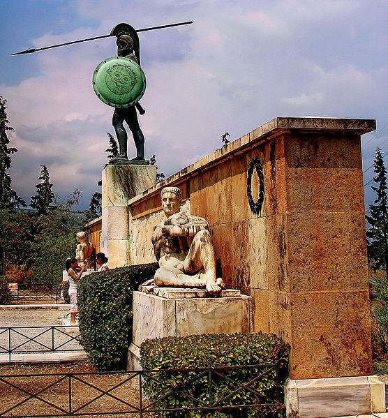 Monument for Leonidas and the 300 Spartans at the site of the battle of Thermopylae.